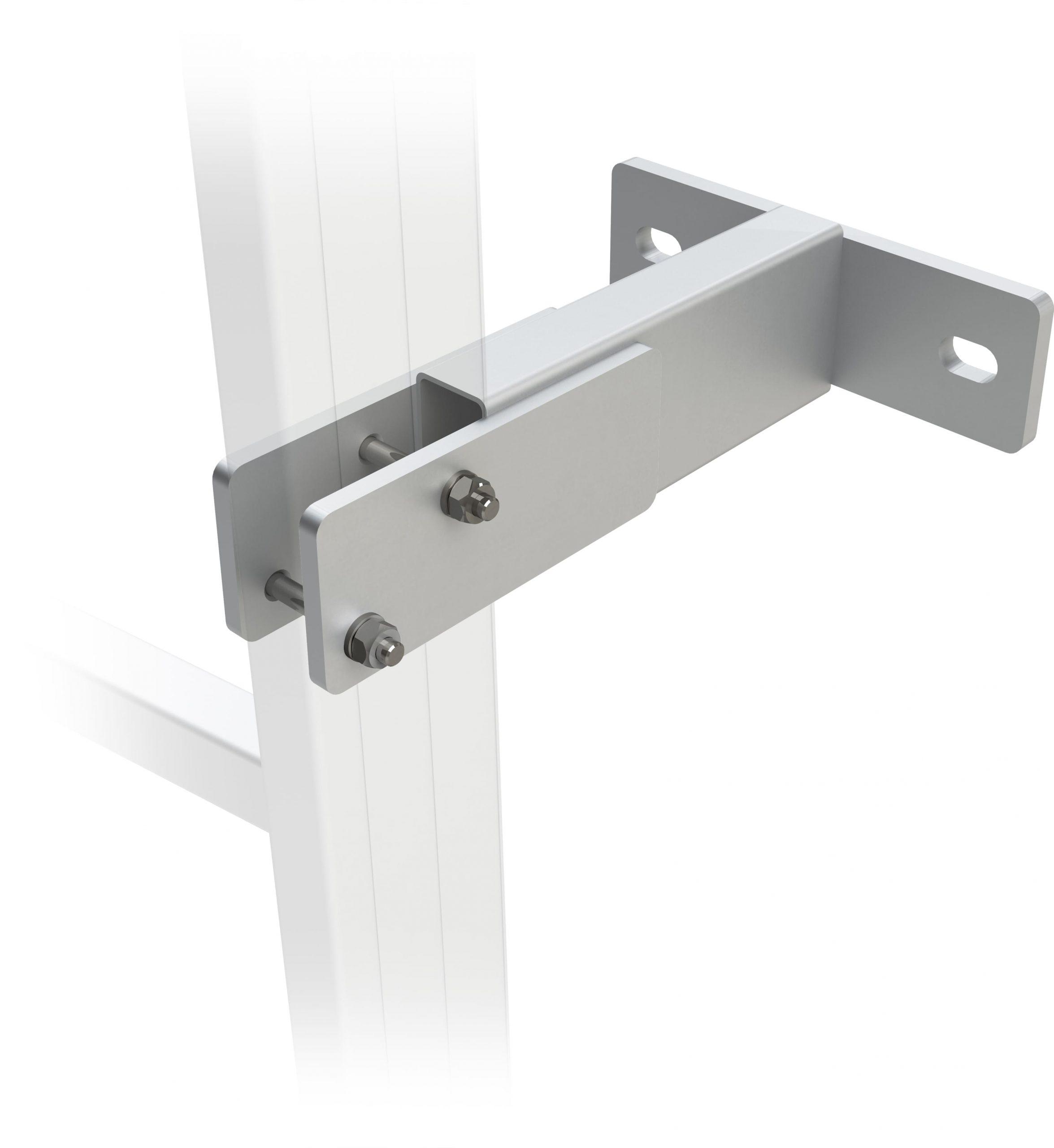 konzola výškovoprestaviteľná pre výstupové rebríky na budove