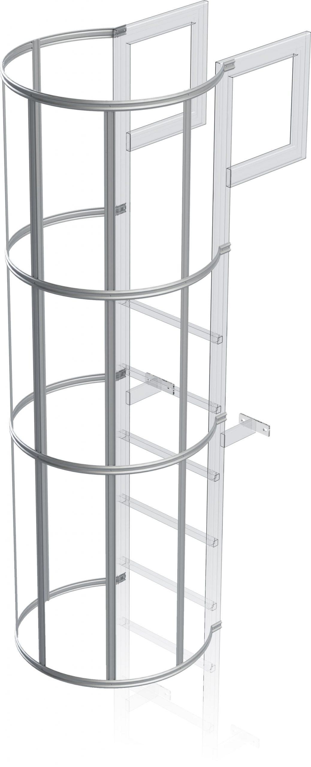 chrbová ochrana výstupového rebríka na budove