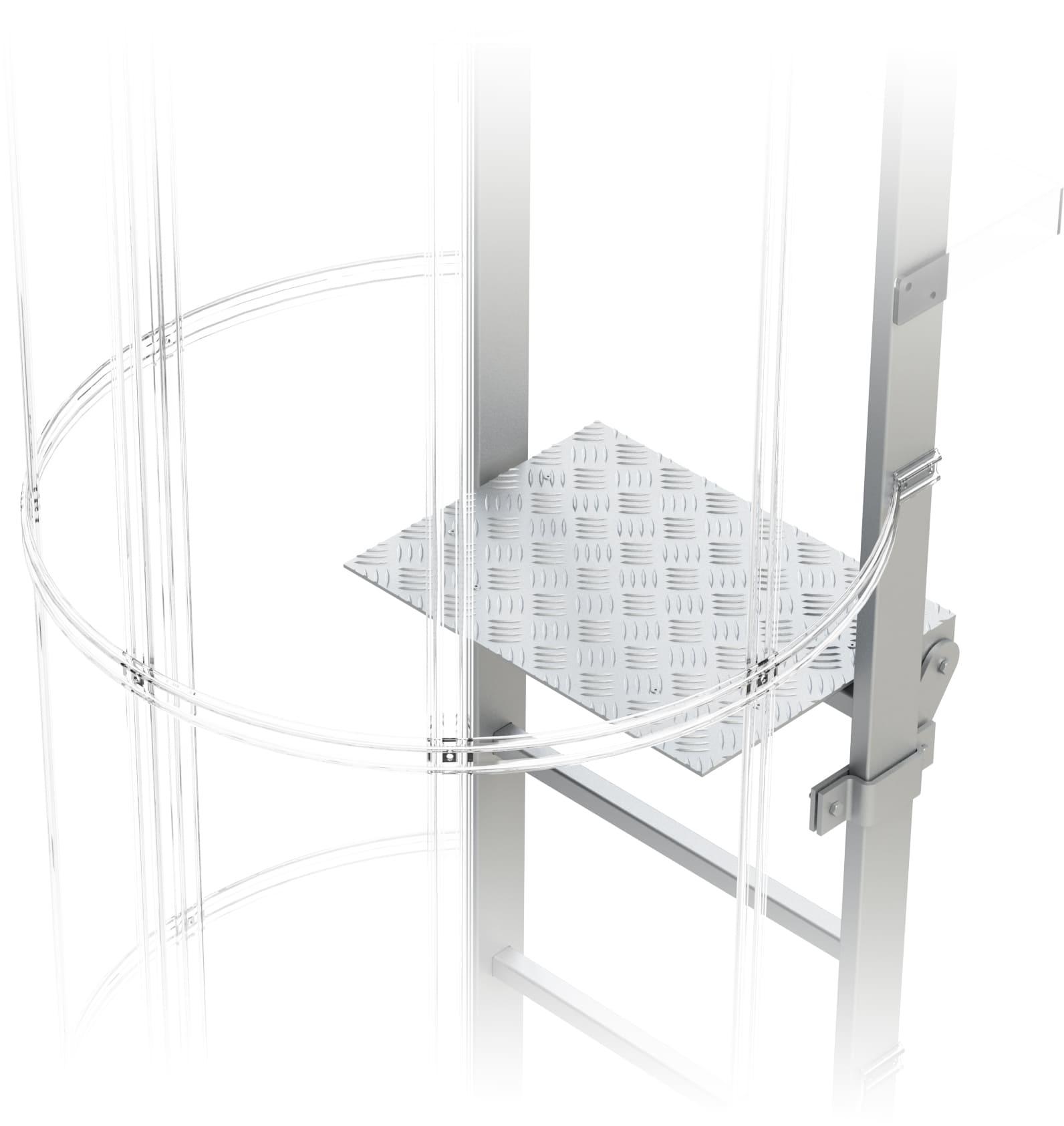 odpočinková podesta slopná pre výstupový rebrík na budove