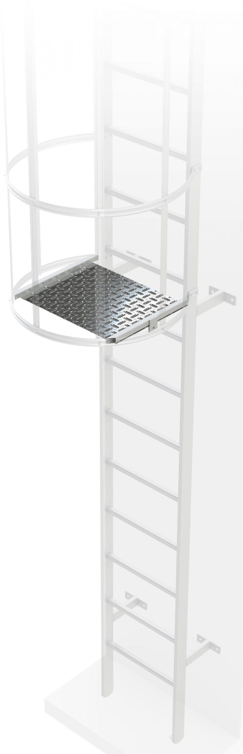 klapka na chrbtovej ochrane pre výstupový rebrík na budove