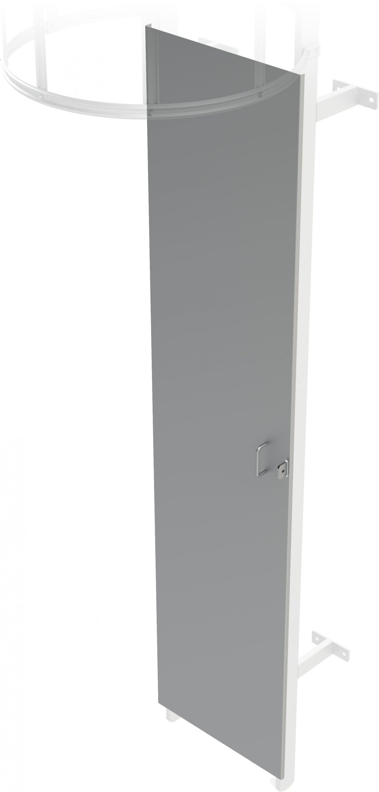 zabezpečenie vstupu - plechové krytie pre výstupový rebrík na budove