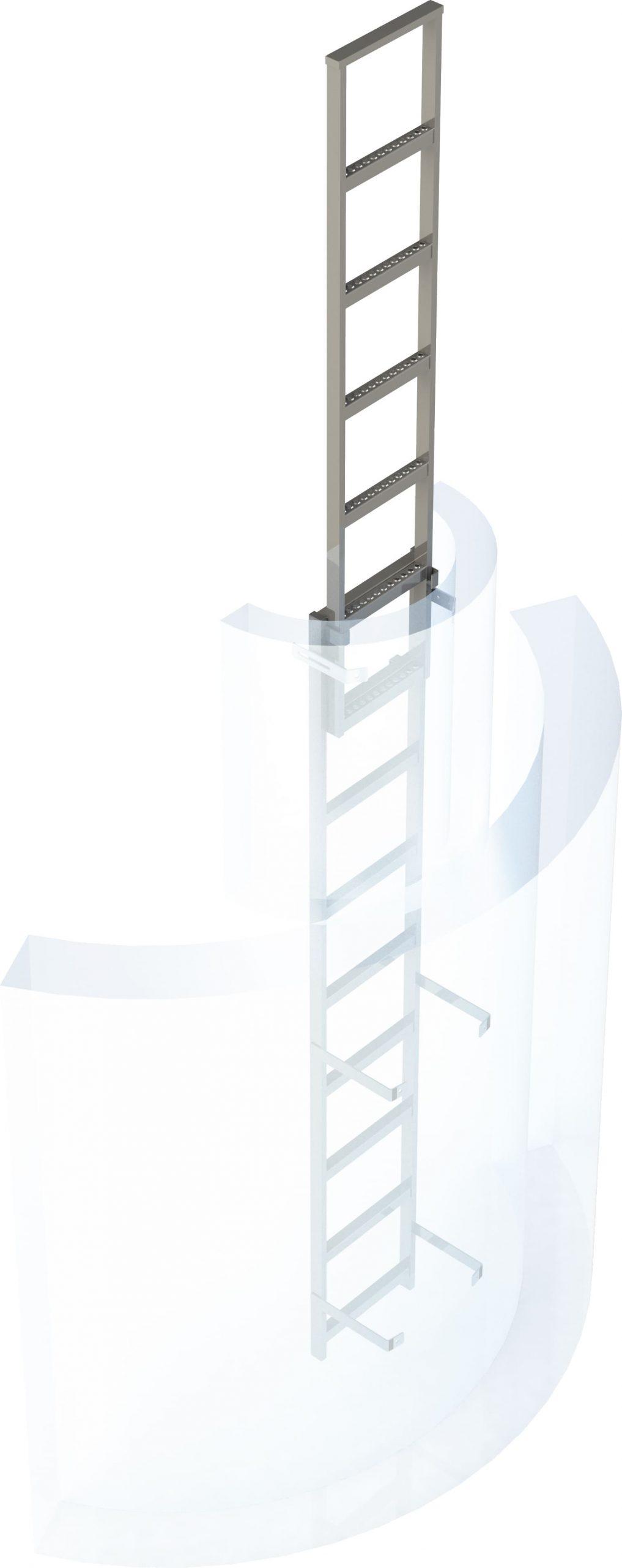 šachtový nerezový rebrík