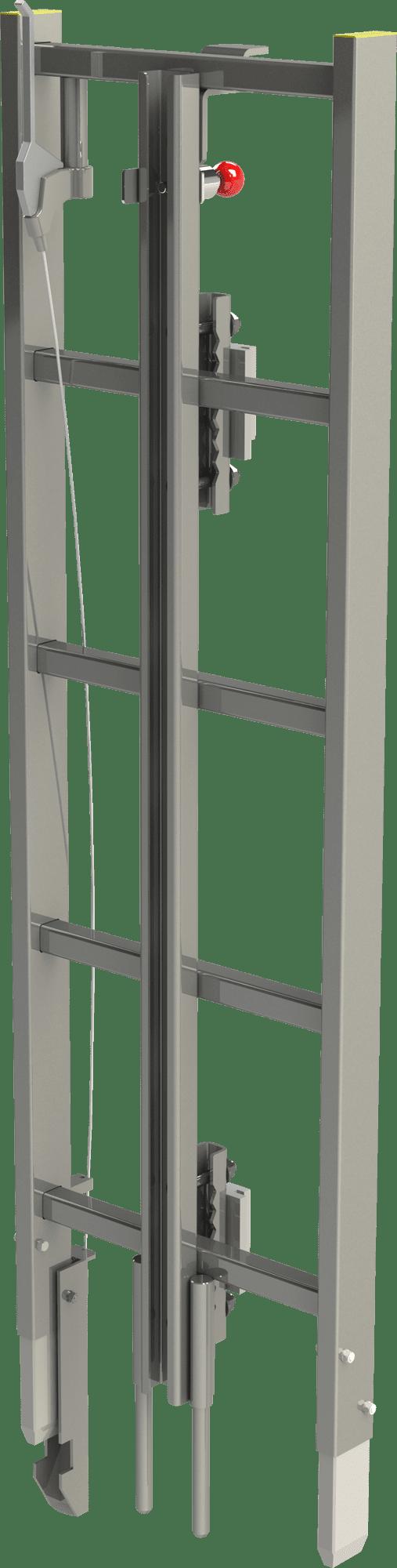 pomôcka vstupu s kolajnicou pádovej ochrany na rebrík