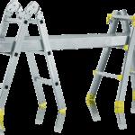teleskopický profesionálny rebrík rozložený ako lešenie
