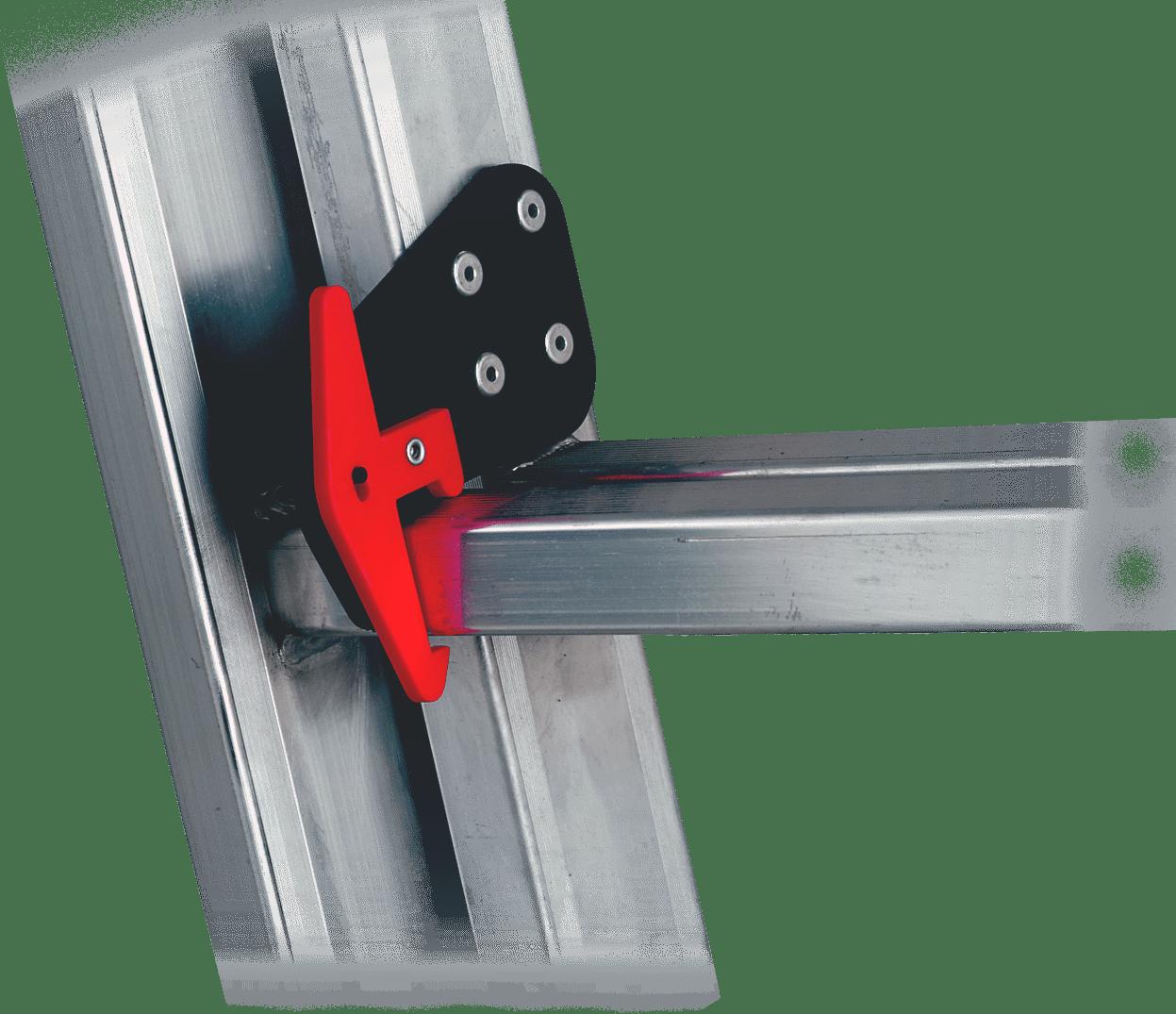 ocelový hák poistký , potiahnutý plastom s poistkou na rebrík