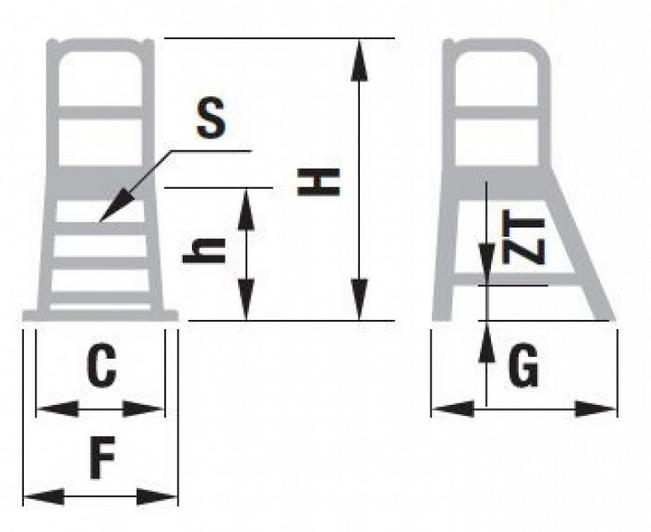 mostík jednostranný nákres