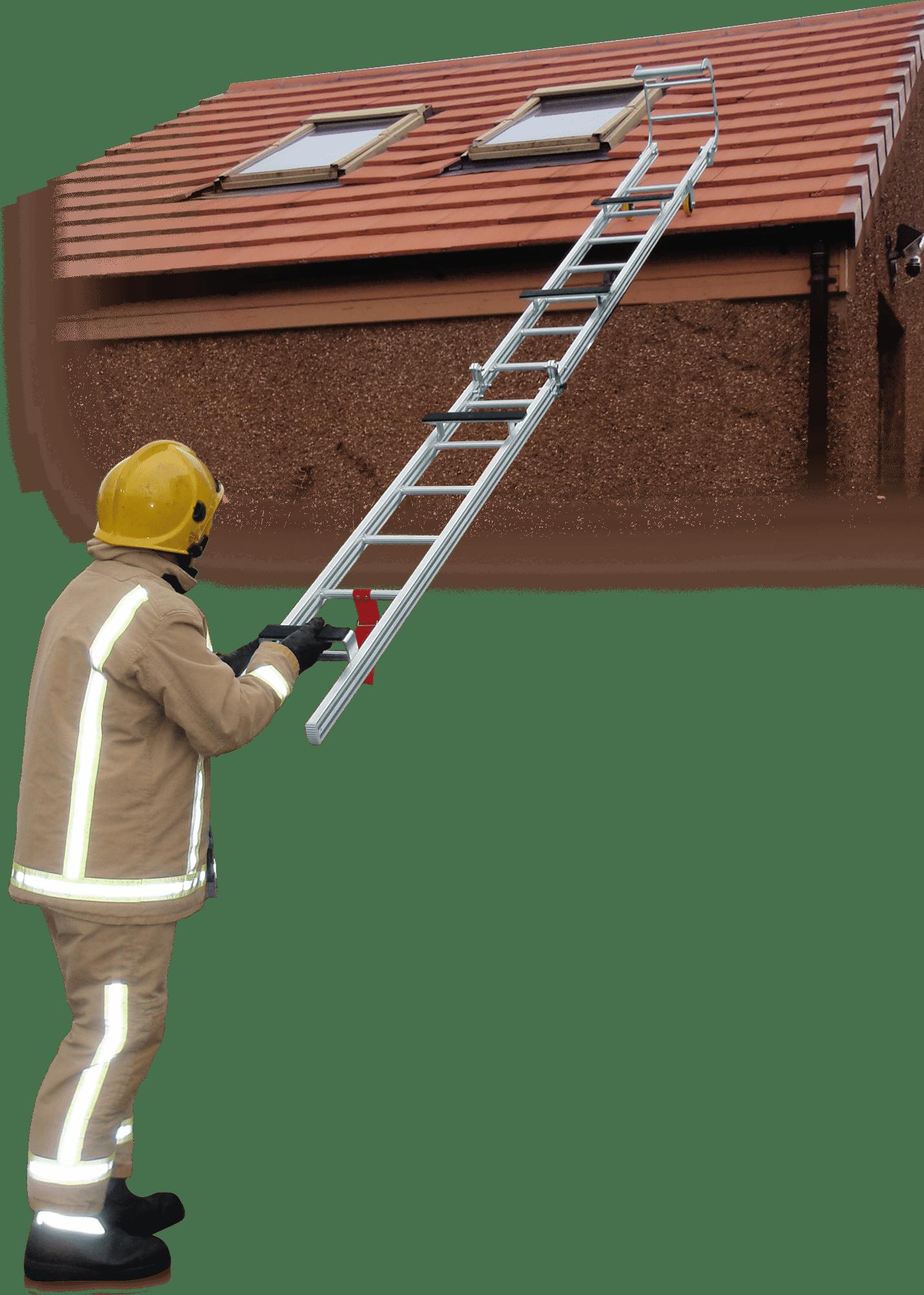 hasičský skladací rebrík klbový na strechu