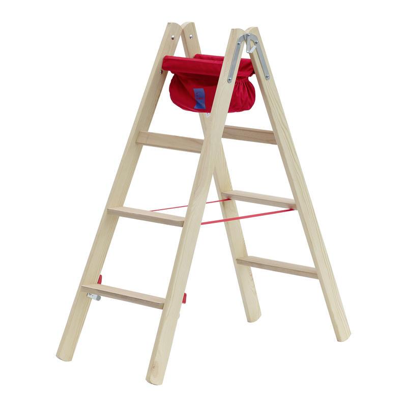 Drevený dvojitý rebrík s plochými stupňami